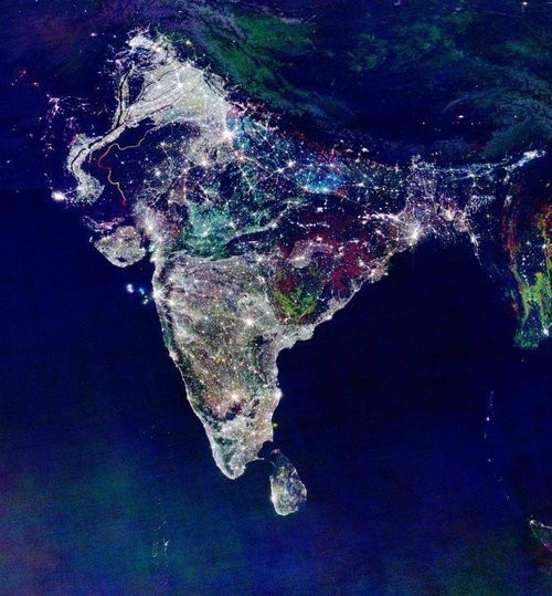 Satellite picture of India taken NASA satellite on a Diwali evening.
